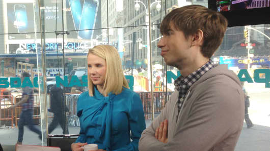"Marissa Mayer and David Karp appear on CNBC's ""Squawk on the Street"" at the Nasdaq."